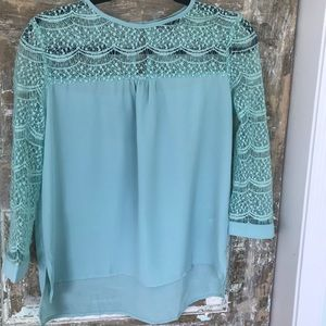 Tops - Mint green lace top